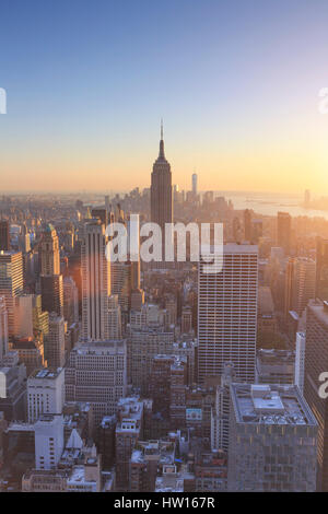 USA, New York, Manhattan, Top of the Rock Observatory, Midtown Manhattan and Empire State Building - Stock Photo
