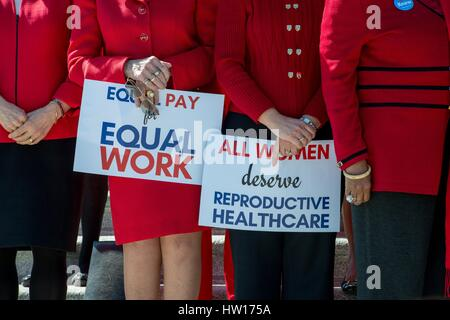 Democratic members of the U.S. Congress hold a rally in support of the Day Without A Woman protest outside the Capitol - Stock Photo