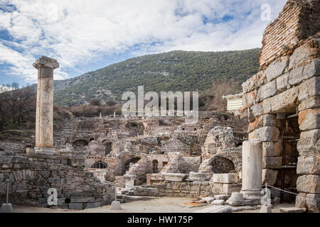 Houses on the slopes in the ancient city of Ephesus in Selcuk, Turkey - Stock Photo