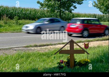 Death in the traffic, Tod im Straßenverkehr - Stock Photo