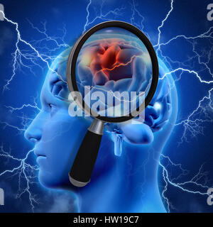 3D medical background with magnifying glass examining brain depicting alzheimers research - Stock Photo