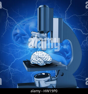 3D medical image with brain under microscope depicting alzheimers research - Stock Photo