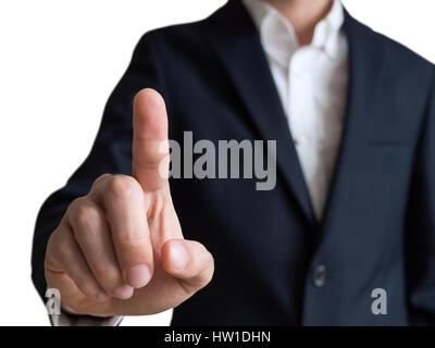 businessman touching and select concept, isolated on white background - Stock Photo