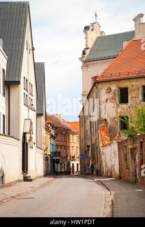 View on beautiful old facade in the street of Old town in Vilnius - Stock Photo