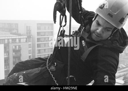 Documentary photography of the Cardiff Window Cleaning Company - Stock Photo