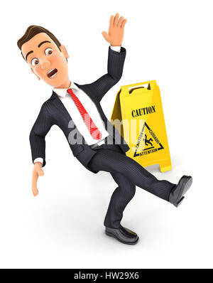 3d businessman slipping on wet floor, illustration with isolated white background - Stock Photo