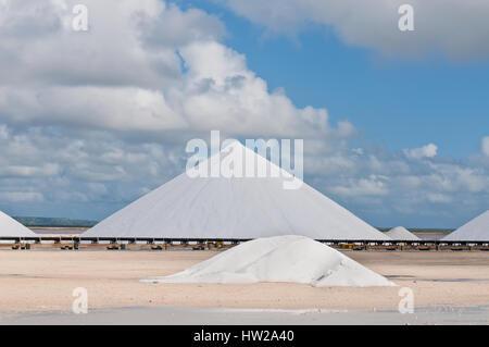 Salt mountains in Bonaire - Netherlands Antilles - Stock Photo