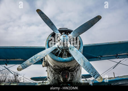 Screw of the Soviet AN-2 aircraft against the background of the evening sky - Stock Photo