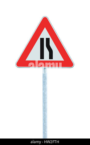Road narrows sign on pole post, right side, isolated vertical closeup - Stock Photo