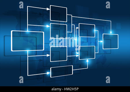 concept business flow chart on blue world map - Stock Photo