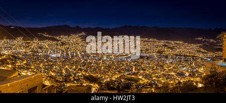 Panoramic view of La Paz at night - La Paz, Bolivia - Stock Photo