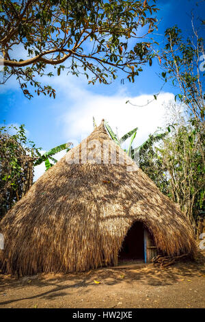 Wooden hut with thatched roof in Fatumnasi village, West Timor, East Nusa Tenggara, Indonesia. - Stock Photo