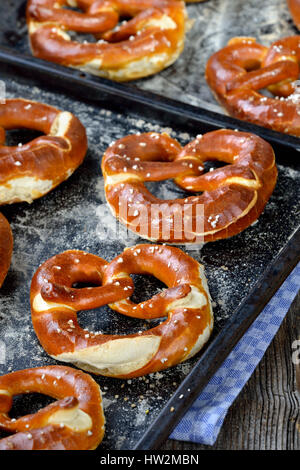 Oven fresh handmade crispy Bavarian pretzels on a baking sheet - Stock Photo