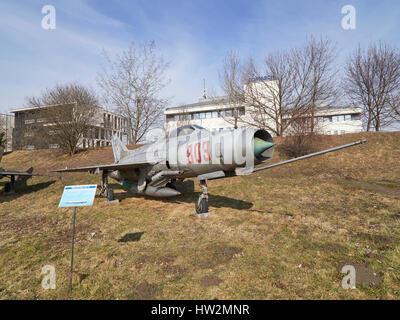Mig 21F-13 'Fishbed' at the Polish Aviation Museum Krakow in Poland - Stock Photo