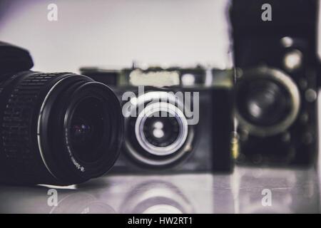 Old photo cameras - Stock Photo