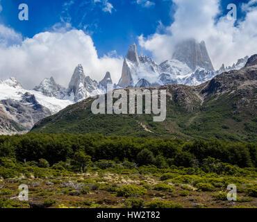 View towards famous Fitz Roy mountain range, path on hill in middle leads on steep track to Mirador Laguna de Los Tres, El Chalten, Los Glaciares Nati
