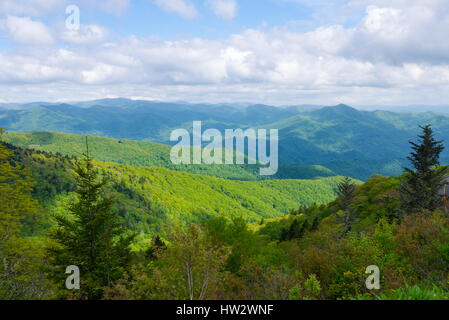 View of Appalachian Mountains from Roan Mountain in North Carolina - Stock Photo