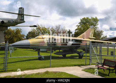 Mikoyan MiG-23 Flogger tactical fighter on Display at Air Defence Museum, CFB Bagotville, Saguenay, QC, Canada - Stock Photo