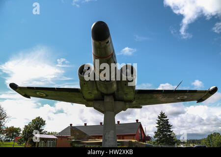 Avro Canada CF-100 Canuck Interceptor on Display at Air Defence Museum, CFB Bagotville, Saguenay, QC, Canada - Stock Photo