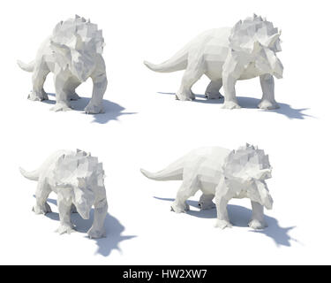 low poly style triceratops - Stock Photo