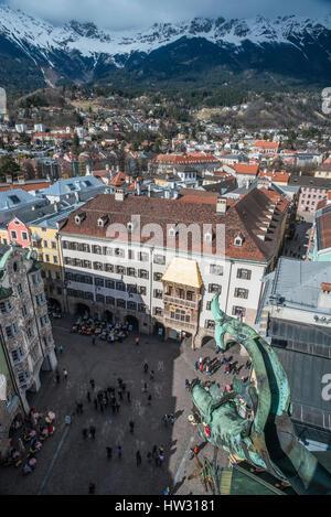 City landscape of Innsbruck, provincial capital of the Tirol in Austria - Stock Photo