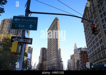 USA, New York, New York City, Manhattan, Flatiron Building - Stock Photo