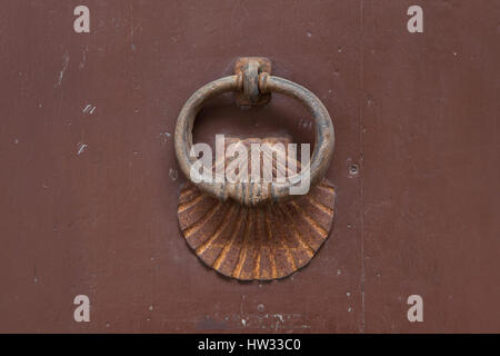 Doorknocker In The Shape Of Scallop Shell In Conques, Aveyron, France.  Scallop Shell