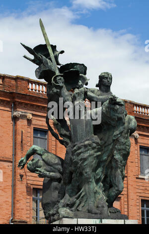 Monument aux Morts de Montauban by French modernist sculptor Antoine Bourdelle in Montauban, Tarn-et-Garonne, France. The monument to the fallen in the Franco-Prussian War (1870 - 1871) was modelled in 1898 to 1900 and erected in 1902.