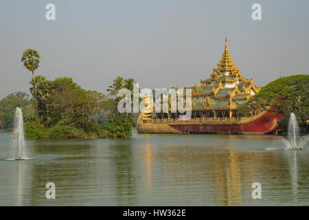 Karaweik Royal Barge, Kandawgyi Lake, Yangon, Myanmar - Stock Photo