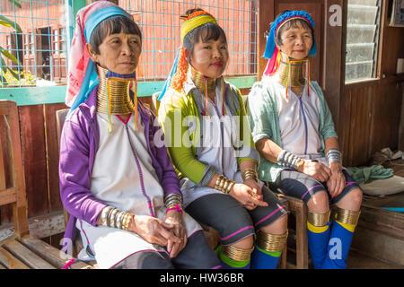 Long Necked Women of Padaung, Inle Lake, Myanmar - Stock Photo