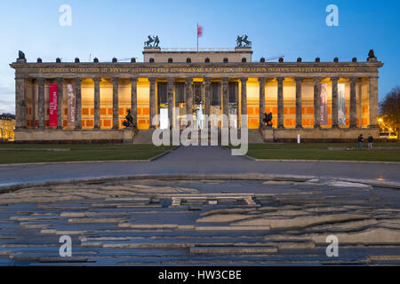 Night view of Altes Museum in Lustgarten in Mitte, Berlin, Germany - Stock Photo