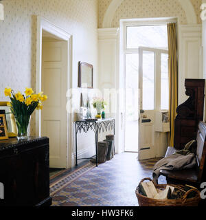 Open Front Door From Inside entrance hall of house front door from inside stock photo, royalty