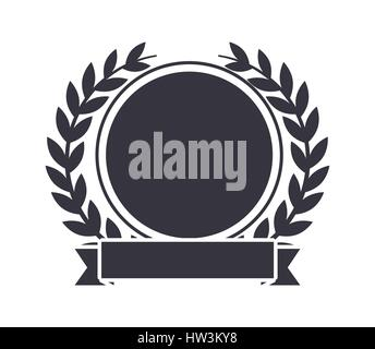 emblem with decorative wreath of leaves - Stock Photo