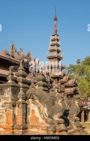 Stone Entrance and Teak Carving on Yoke Sone Kyaung Monastery, Sale, Myanmar - Stock Photo