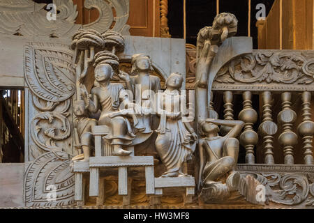 Teak Carving on Yoke Sone Kyaung Monastery, Sale, Myanmar Temptation with Guile - Stock Photo