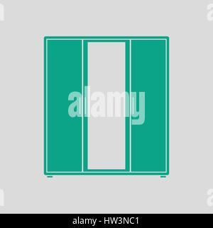 Wardrobe with mirror icon. Gray background with green. Vector illustration. - Stock Photo