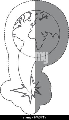 sticker silhouette earth world map with continents ejection flying - Stock Photo