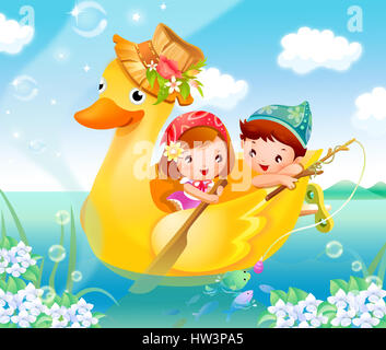 animal themes,animal,boat,boys,boy,male,brown hair,cap,cartoon,casual clothing,children only,clipart,cloud,color,colour,color - Stock Photo