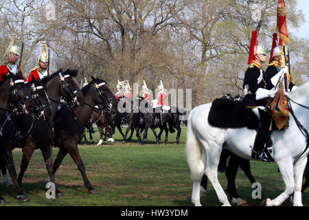 London, UK. 16th Mar, 2017. Members of HM Household Cavalry parade for the Major General's Review in Hyde Park, - Stock Photo