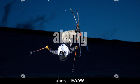 Sierra Nevada, Spain. 16th March, 2017. A rider during the qualitification of Men's Halfpipe of FIS World Freestyleski - Stock Photo