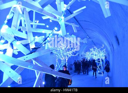 Zagreb. 16th Mar, 2017. Photo taken on March 16, 2017 shows light installations at Gric Tunnel in Zagreb, capital - Stock Photo