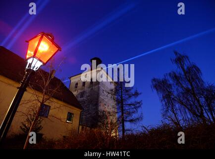 Zagreb. 16th Mar, 2017. Photo taken on March 16, 2017 shows the illuminated Lotrscak Tower during the light festival - Stock Photo