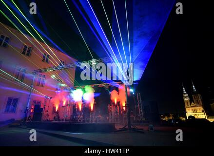 Zagreb. 16th Mar, 2017. Photo taken on March 16, 2017 shows light installations at Gradec plateau in Zagreb, capital - Stock Photo