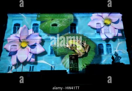 Zagreb. 16th Mar, 2017. Photo taken on March 16, 2017 shows light installations at Juesuit square in Zagreb, capital - Stock Photo