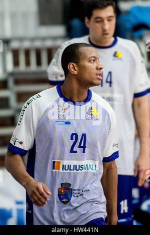 March 15, 2017: Jonte Flowers #24 of BC SCM Timisoara  during the LNBM - Men's National Basketball League game between - Stock Photo