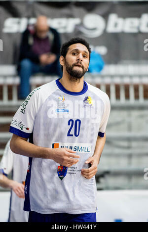 March 15, 2017: Adrian Diaz #20 of BC SCM Timisoara  during the LNBM - Men's National Basketball League game between - Stock Photo