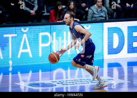 March 15, 2017: Octavian Popa Calota #11 of BC SCM Timisoara  during the LNBM - Men's National Basketball League - Stock Photo