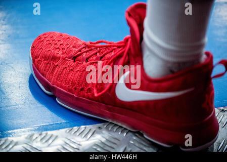 March 15, 2017: Adrian Diaz #20 of BC SCM Timisoara shoe during the LNBM - Men's National Basketball League game - Stock Photo
