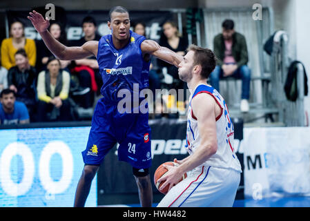 March 15, 2017: Jonte Flowers #24 of BC SCM Timisoara L and David Dudzinski #50 of Steaua CSM EximBank Bucharest - Stock Photo