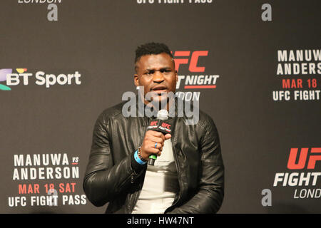 London, UK. 17th Mar, 2017. Francis Ngannou takes questions from the public during UFC London: Weigh Inns at O2 - Stock Photo
